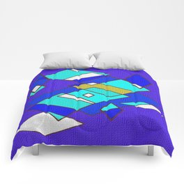 Blue white and turquoise Comforters
