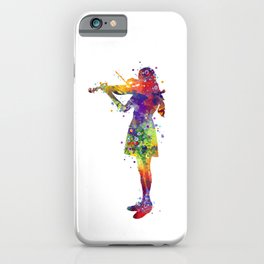 Violinist Girl Watercolor Gift iPhone Case