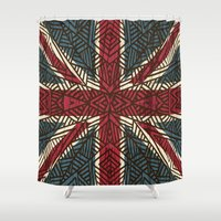 union jack Shower Curtains featuring Union Jack - Vintage Tribal by ArtLovePassion