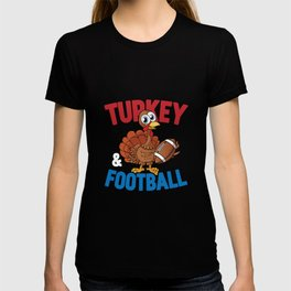 Thanksgiving Turkey Football Funny Apparel Gift T-shirt