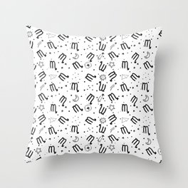 Scorpio zodiac sign hand drawn seamless pattern Throw Pillow
