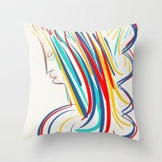 Expressionist Minimal Pop Portrait Throw Pillow