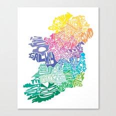 Typographic Ireland Canvas Print