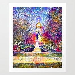 Father Sorin Statue on Notre Dame Main Quad Art Print