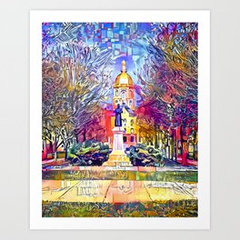 Father Sorin Statue on Notre Dame Main Quad Art Print