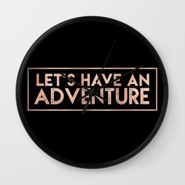 LET'S HAVE AN ADVENTURE in Rose Gold on Black Wall Clock
