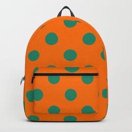 XX Large Elf Green Polka Dots on Pumpkin Orange Backpack
