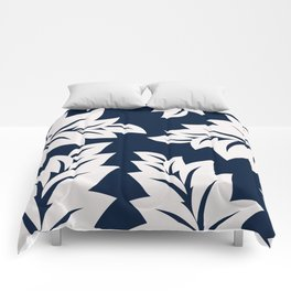 Navy Blue tropical leaves Comforters