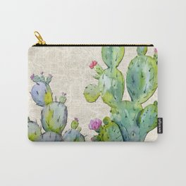 Water Color Prickly Pear Cactus Adobe Background Carry-All Pouch