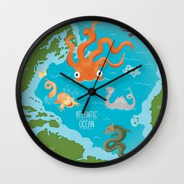 Seamonsters of the Atlantic Ocean Map Wall Clock
