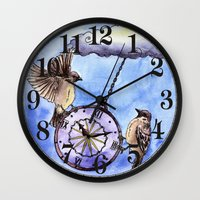 clock Wall Clocks featuring Clock by Anna Shell