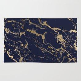 Modern luxury chic navy blue gold marble pattern Rug