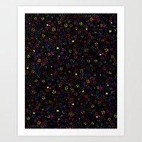 Flowers Black Pattern Print Art Print