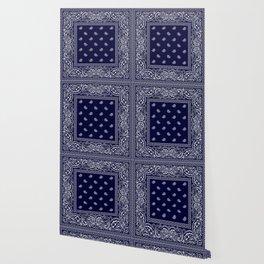 Bandana - Navy Blue - Southwestern - Paisley  Wallpaper