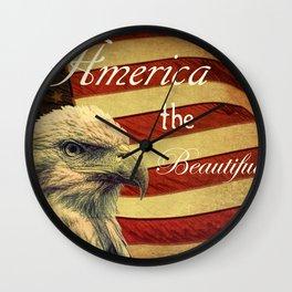 America the Beautiful Rustic Flag A109 Wall Clock