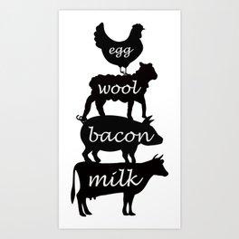 Egg Wool Bacon and Milk Art Print