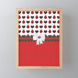 Ladybug and Hearts Framed Mini Art Print