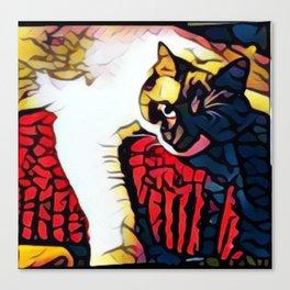 Tootsie, cat art, artsy cat portrait, cat print, cool cat artwork Canvas Print