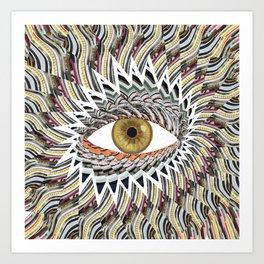 Origami Chakra Eye - Golden Hazel Art Print