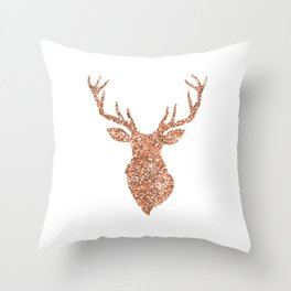 Sparkling Reindeer Blush Gold Throw Pillow