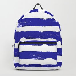 Hand-Drawn Stripes (Navy Blue & White Pattern) Backpack