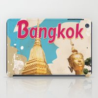 travel poster iPad Cases featuring Bangkok Vintage Travel Poster by Nick's Emporium Gallery