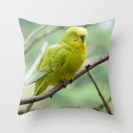 Yellow Green Budgie Throw Pillow