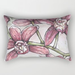 Orchids - Watercolor and Ink artwork Rectangular Pillow