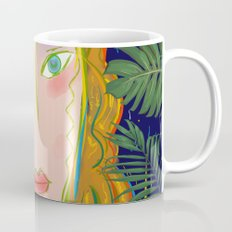 Pop Girl Portrait with Flowers and Leaves Decoration Coffee Mug