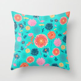 English garden flowers Throw Pillow