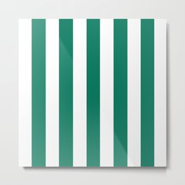 Deep green-cyan turquoise - solid color - white vertical lines pattern Metal Print