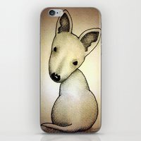 bull terrier iPhone & iPod Skins featuring Bull Terrier Pup by Caroline Blicq