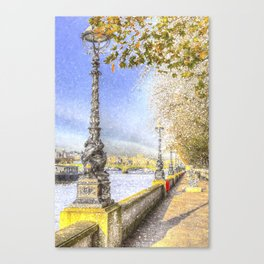 River Thames Path Snow Art Canvas Print