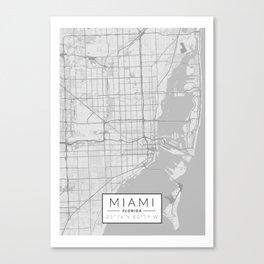 Miami Map - Black and White (Light) Canvas Print