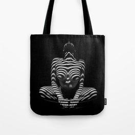1152-MAK Abstract Nude Black & White Zebra Striped Woman Topographic Feminine Body Tote Bag