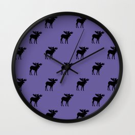 Bull Moose Silhouette - Black on Ultra Violet Wall Clock