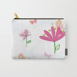 Summer Flowers, Butterflies and Fairy Pattern Wallpaper Carry-All Pouch