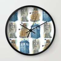 dr who Wall Clocks featuring Dr Who by Iris Illustration