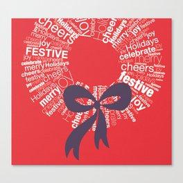Holidays Typographic Wreath Canvas Print