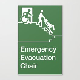 Accessible Means of Egress Icon, Emergency Evacuation Chair Sign Canvas Print