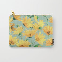 Painted Golden Yellow Daisies on soft sage green Carry-All Pouch