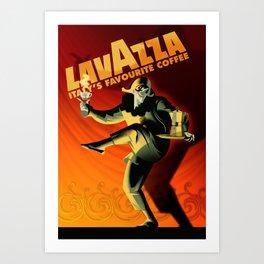 "Vintage Lavazza Italian Pagliacci ""Clown"" Coffee Lithograph Advertisement Poster Art Print"