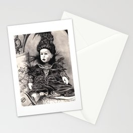 Madamme Darkness, Queen of the Night, Creepy Doll pencil portrait Stationery Cards