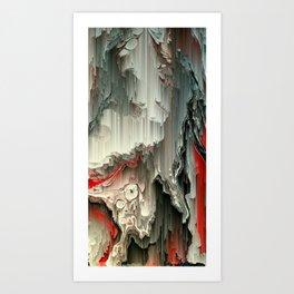 Digital Art Fluid Acrylic Painting Black, Silver, Red Waterfall Art Print