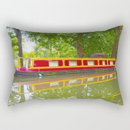 Canal Boat Painted Rectangular Pillow