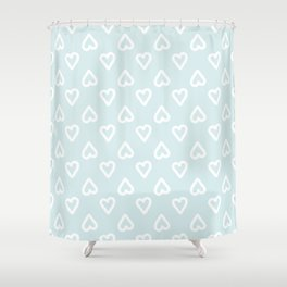 White doodle hearts over blue background Shower Curtain