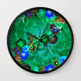 Flower explosion in green and blue Wall Clock