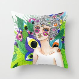 She Sees In All Directions Throw Pillow