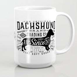 Dachshund trading company long dog graphic art illustration typography Coffee Mug