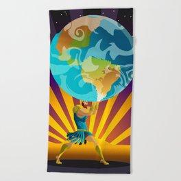 atlas holding the world Beach Towel
